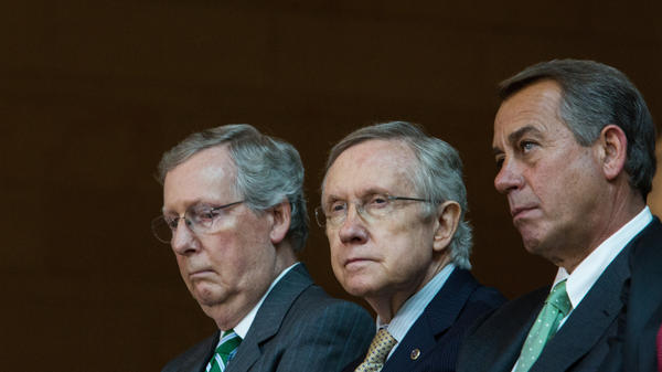 Senate Majority Leader Mitch McConnell (from left), Senate Minority Leader Harry Reid and House Speaker John Boehner have reasons to watch the Supreme Court case closely — and to worry about its outcome.