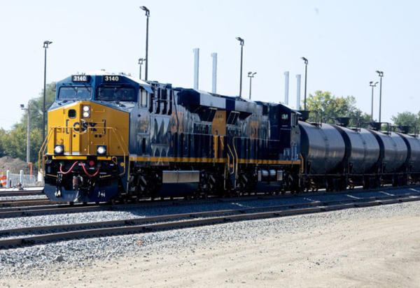 <p>An oil train. Increased oil train traffic in the Northwest is prompting policymakers to consider whether their states have sufficient safety measures in place to deal with the risk of a crash or spill.</p>