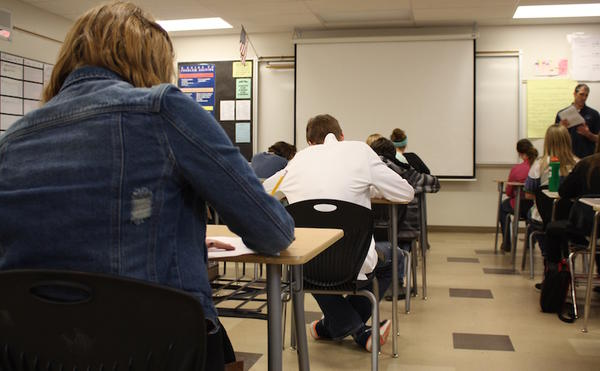 Students take a quiz in Eric Miller's eighth grade algebra class at Lakes Magnet Middle School in Coeur d'Alene, Idaho.