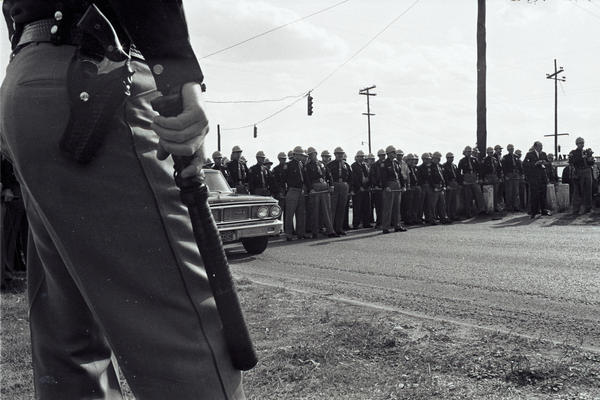 A line of Alabama state police in Selma awaiting marchers.