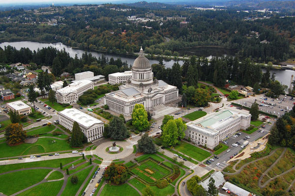 An aerial view of the Washington State Capitol Campus in Olympia
