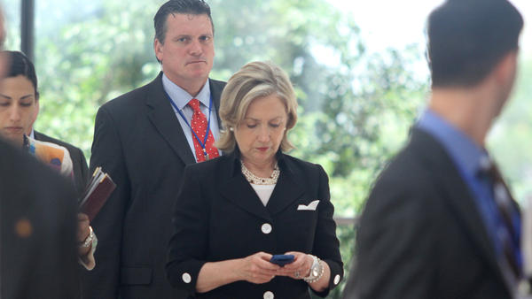 "Then-Secretary of State Hillary Clinton checking her phone in 2010. For many Democrats, the answer to the question: ""If not Hillary, who?"" is — disaster."