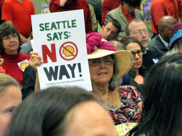 <p>Hundreds of people attended the Seattle Port Commissioners' public meeting to voice their feelings about a controversial lease that would allow Shell Oil to keep its arctic drilling fleet at the Port of Seattle. </p>