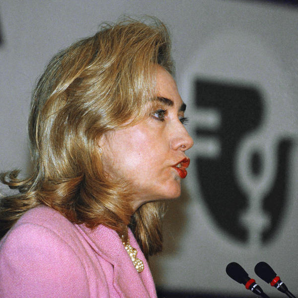 Then-first lady Hillary Rodham Clinton addresses a panel on women's health and security at the 1995 women's conference.