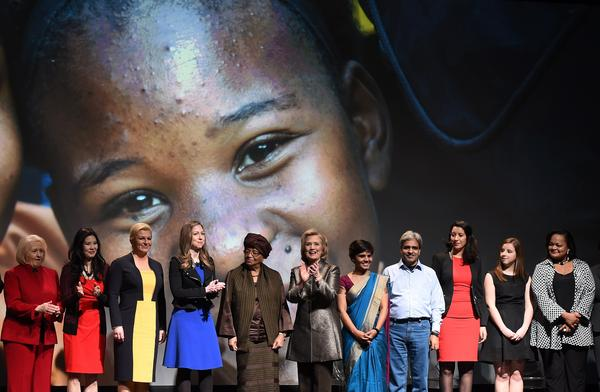 Hillary and Chelsea Clinton flank Liberian President Ellen Johnson-Sirleaf (in brown headwrap) at an event held this week in conjunction with the U.N. Commission on the Status of Women.