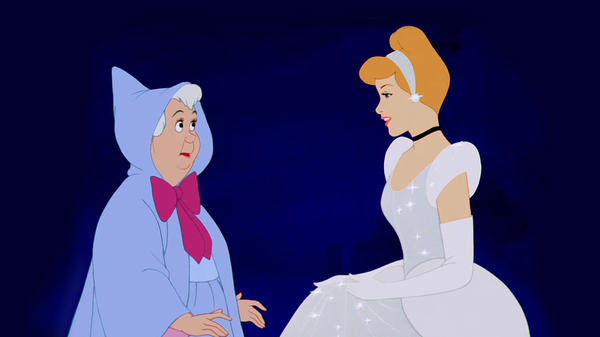 Cinderella and her fairy godmother in the 1950 Disney cartoon.