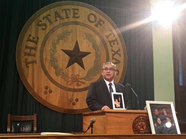 Ernest Machado speaks at the Capitol on March 12, 2015 to shore up support for a bill that would remove the pregnancy exclusion from Texas law on end of life advanced directives.