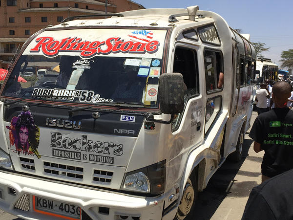 A minibus painted with the Rolling Stones' logo.