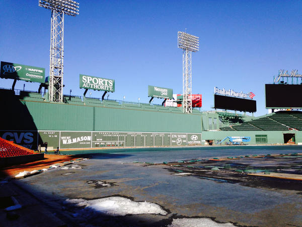 The Green Monster overlooks the field at Fenway Park.