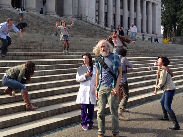 Washington's motion picture industry films a zombie fight on the steps of the state capitol as part of a campaign for an expanded industry tax credit.