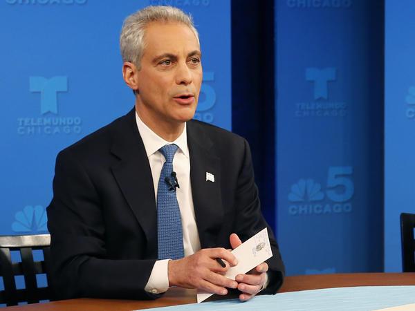 Chicago Mayor Rahm Emanuel, ahead of a televised debate Monday.