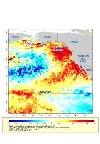 <p>This map shows sea surface temperatures off the West Coast. The darker the red, the farther the temperatures are above average.</p>