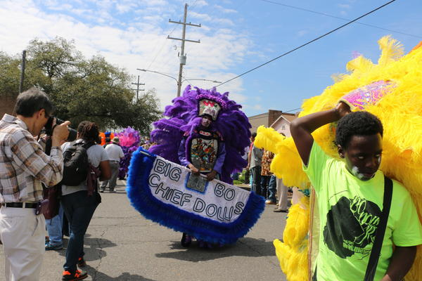 Big Chief Bo Dollis, Jr. is the son of Wild Magnolia Big Chief Bo Dollis, recently deceased. The latter made Mardi Gras Indian music world-famous by cutting albums and performing with a funk band.