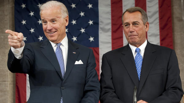 Vice President Biden and House Speaker John Boehner wait for President Obama's State of the Union address in front of a joint session of Congress in 2012. As vice president, Biden is also leader of the U.S. Senate, but only gets a vote when senators are evenly divided.
