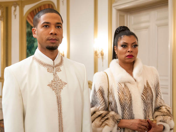 "Jamal (played by Jussie Smollett) and Cookie (played by Taraji P. Henson) attend the all white party in the ""The Lyon's Roar"" episode of Empire."
