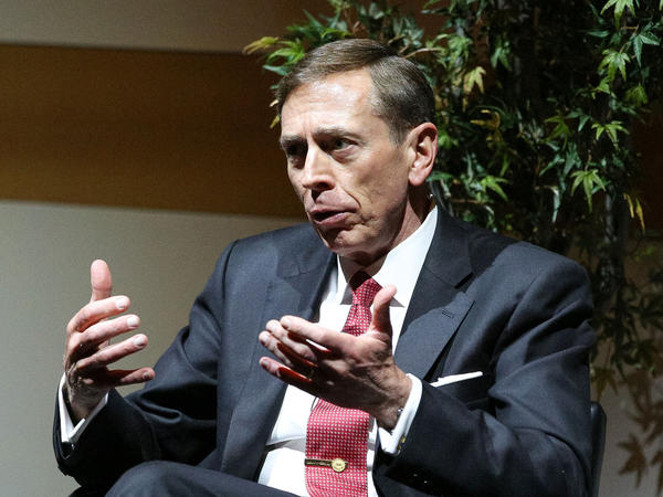 David Petraeus speaks in Los Angeles on Nov. 7, 2014. The former head of the U.S.-led coalition in Iraq tells <em>The Washington Post</em> that Iran and Shiite-backed militias pose a greater threat to Iraq than the self-described Islamic State.