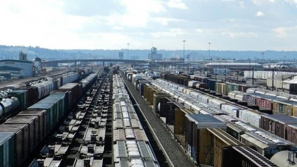 <p>The view from the BNSF Railway rail yard in Spokane. </p>