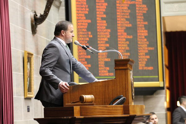 "House Speaker John Diehl presides over the Missouri House last week. Diehl, R-Town and Country, has rejected the idea of pursuing a ""Ferguson agenda,"" but adds the House will take up bills changing municipal courts."
