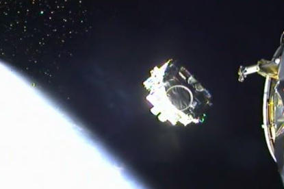 Satellite separation during the Falcon 1 ABS/Eutelsat launch.
