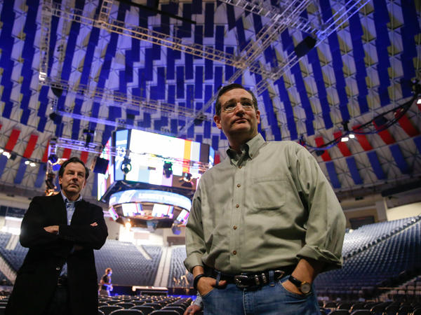 Sen. Ted Cruz, R-Texas, arrives Sunday for a walk-through for his Monday speech at Liberty University in Lynchburg, Va., in which he is expected to formally launch his campaign for president.