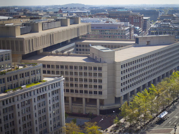 "FBI headquarters in Washington. An independent review says the bureau has made strides since Sept. 11 but ""needs to accelerate its implementation of reforms."""