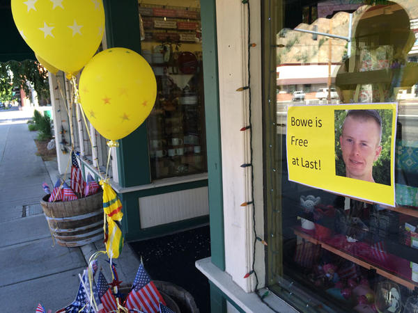 File photo. Jane Drussel's store, Jane's Artifacts, in downtown Hailey, Idaho, used to display yellow ribbons and pictures of Bowe Bergdahl.