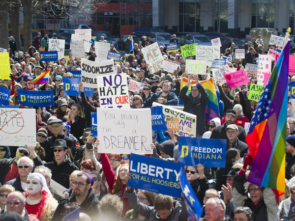 Thousands of opponents of Indiana Senate Bill 101, the Religious Freedom Restoration Act, gathered on the lawn of the Indiana State House to rally against that legislation on Saturday.