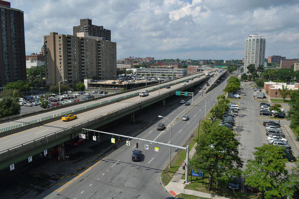 The Interstate 81 viaduct in downtown Syracuse at Exit 18.
