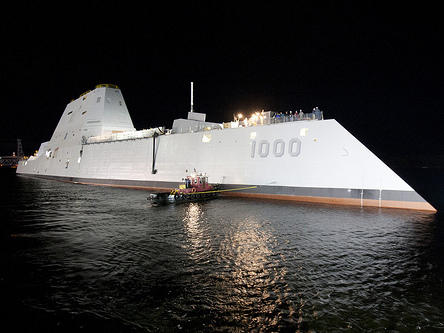 "The USS Zumwalt, the first in a new class of ""stealth"" destroyers."