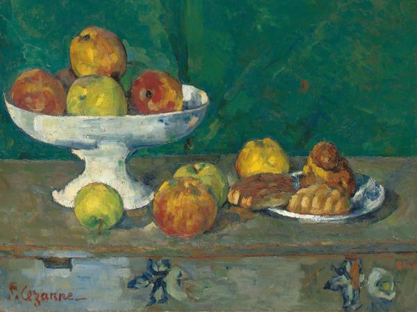 <em>Apples and Cakes </em><em>(Pommes et gateaux)</em> by Paul Cezanne, 1873-1877.