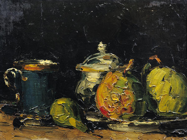 <em>Sugar Bowl, Pears, and Blue Cup (Sucrier, poires et tasse bleue) </em>by Paul Cezanne, circa 1866.