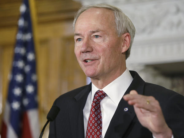 Arkansas Gov. Asa Hutchinson speaks in the Governor's Conference Room at the Arkansas state Capitol in Little Rock.