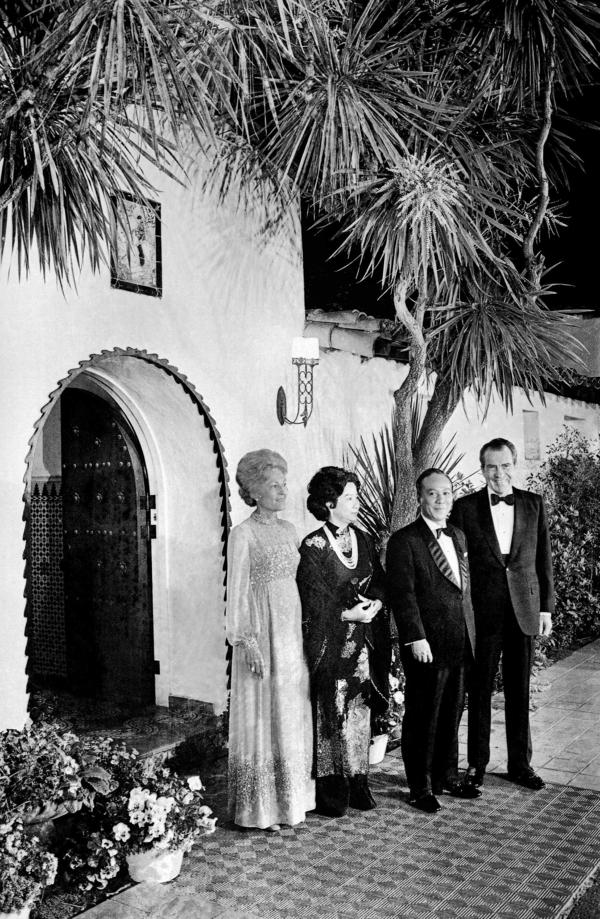 President Richard Nixon and Pat Nixon welcome South Vietnam's President Nguyen Van Thieu and his wife, Nguyen Thi Mai Anh, to a working dinner at the San Clemente home in 1973.