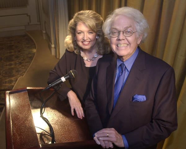 Stan Freberg and his wife, Hunter, pose for a photo in Beverly Hills, Calif., in 2003.