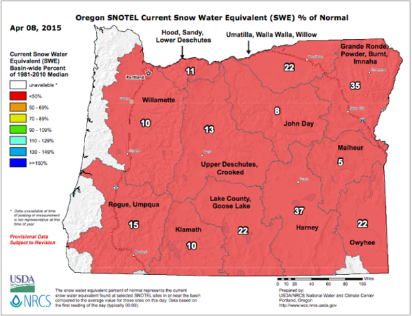 <p>The snow water equivalent percent of normal represents the current snow water equivalent found at selected SNOTEL sites in or near the basin compared to the average value for those sites on this day. Data based on first reading of the day.</p>