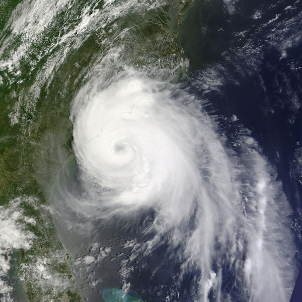 Hurricane Arthur, the first hurricane of the 2014 Atlantic season, as it nears landfall in the Carolinas.