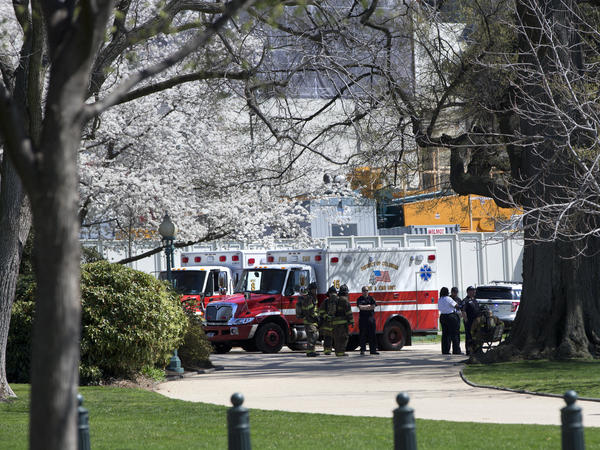 Members of law enforcement and emergency services gather and a perimeter created around the west front of the U.S. Capitol as the U.S. Capitol was on lockdown Saturday after an apparent suicide.