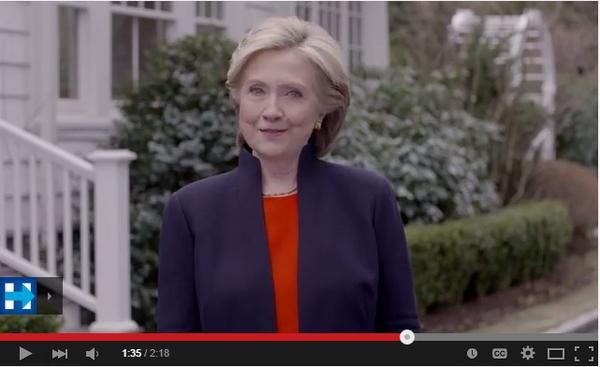 Hillary Clinton announces her candidacy.