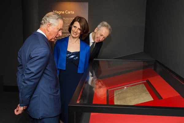 Britain's Prince Charles looks at an original Magna Carta manuscript during a visit to the British Library on March 12. The document, which has served as the foundation of the modern judicial system, was issued in 1215 by King John, who was under pressure from English barons. The exhibition marks the 800th anniversary of the document.
