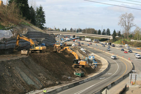 FIle photo of highway construction on Interstate 5 in Tacoma, Washington.