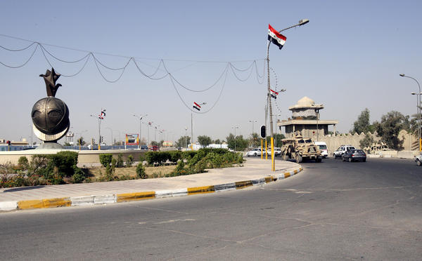 Former Blackwater security guards were sentenced Monday for the shooting of dozens of Iraqi civilians in Nisour Square in Baghdad, Iraq. The square is seen here on Sept. 20, 2007, four days after the incident.