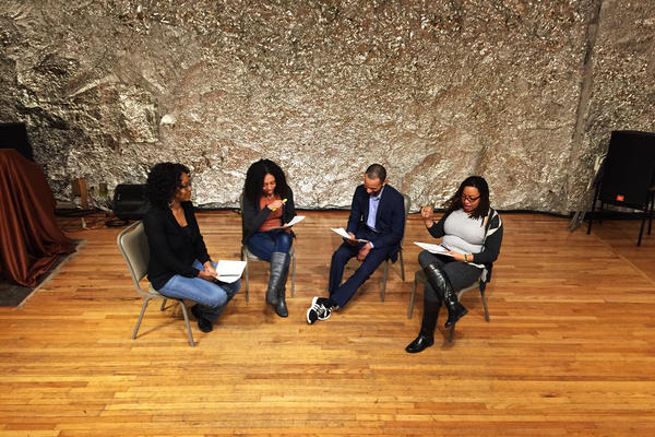 Lauren Lattimore (left), Wi-Moto Nyoka, Edmund Alyn Jones and Courtney Harge rehearse a scene from <em>Blue-Eyed Black Boy</em>, a play about lynching that was written around 1930.