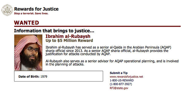 Ibrahim al-Rubaish, the top cleric of Yemen's al-Qaida branch, was killed in a drone strike on Sunday, according to a statement by al-Qaida. This poster is from U.S. State Department Rewards For Justice.