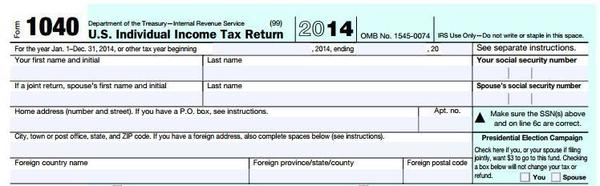 "The 1040 tax form includes a small box that reads ""Presidential Election Campaign: Check here if you, or your spouse if filing jointly, want $3 to go to this fund. Checking a box below will not change your tax or refund."""