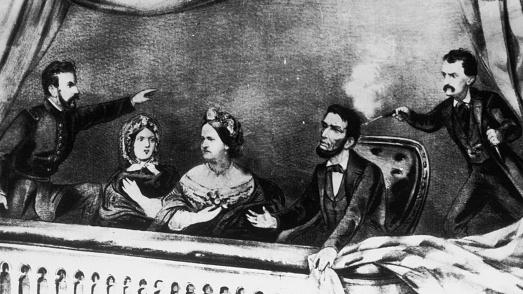 An engraving of the assassination of President Abraham Lincoln at Ford's Theatre in Washington on April 14, 1865. Lincoln died the next day.