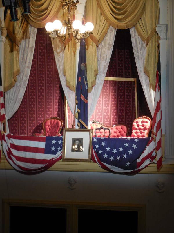The President's Box at Ford's Theater in Washington, restored to its appearance in April 1865