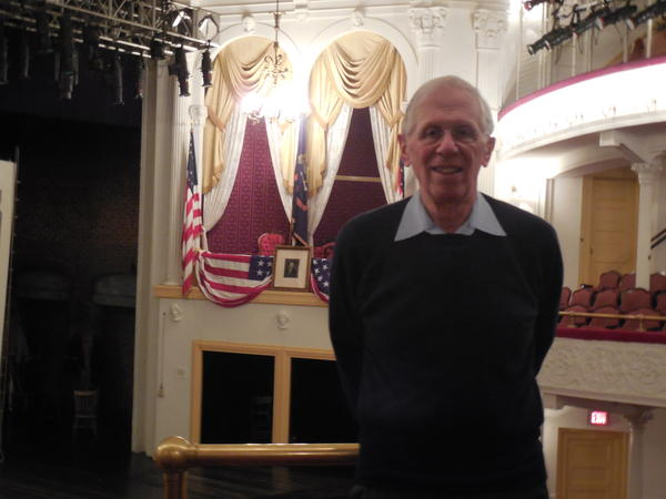 "Anthony Pitch, author of ""They Have Killed Papa Dead,"" in front of the President's Box at Ford's Theater"