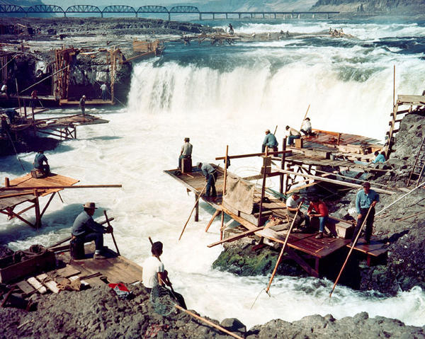 Dipnet fishing at Celilo Falls on the Columbia River around 1957.