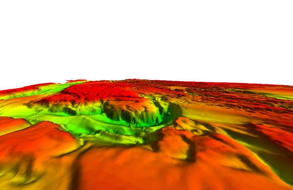 A 2008 sonar survey showing Celilo Falls remains intact.