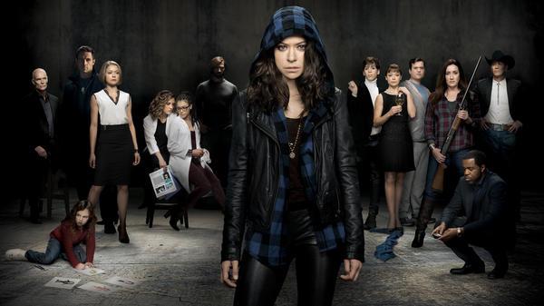 Tatiana Maslany (center) plays several different clones on the BBC America series <em>Orphan Black</em>.